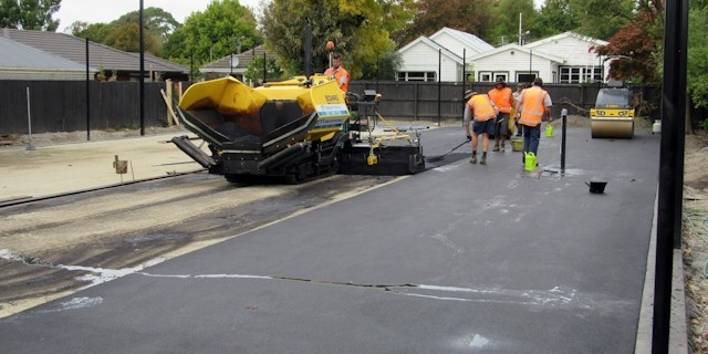 Laying a Christchurch tennis court