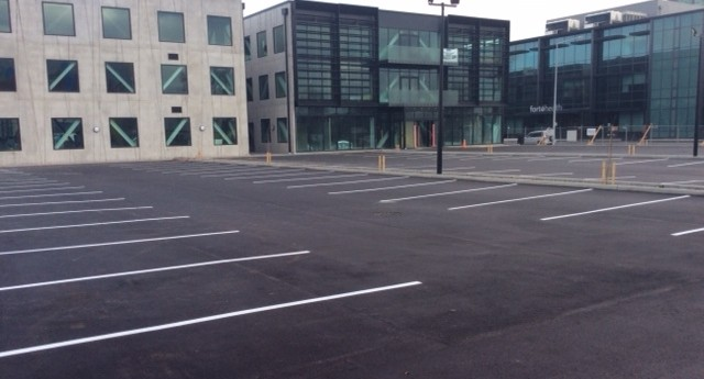 Finished car park in city